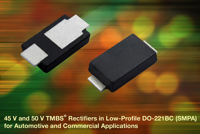 Vishay Intertechnology launches 45V and 50V TMBS rectifiers in a low-profile DO-221BC (SMPA) package