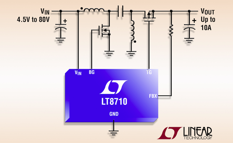 Linear's 80V synchronous SEPIC/inverting/boost DC/DC controller delivers up to 10A