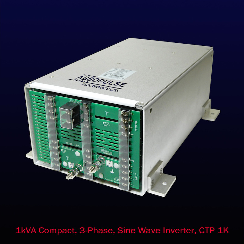 Compact 3-phase 1kVA sine wave inverter system suits industrial apps