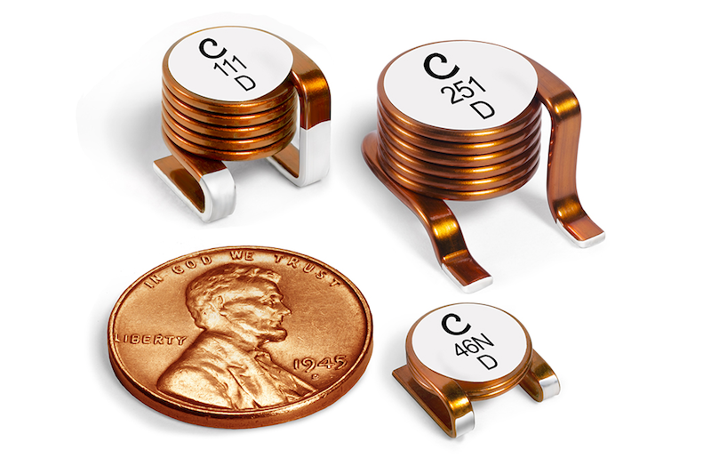 Coilcraft's latest high-current air-core inductors offer Q Factors To 230 at 400 MHz