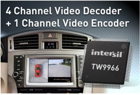 Intersil claims first single-chip multchannel video decoder for vehicle-vision apps