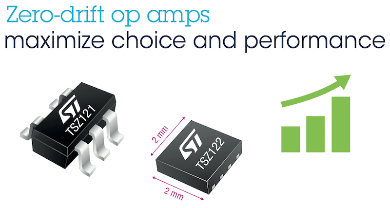 Zero-drift op-amps from STMicro empower precision sensing in wearable products