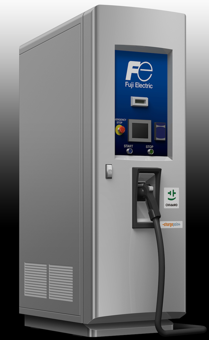 Fuji Electric's e-vehicle charging station installed at Edison ParkFast in Manhattan