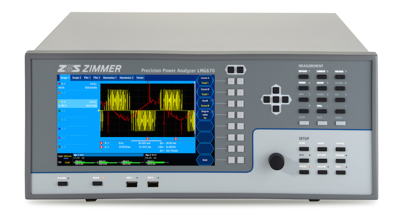 ZES ZIMMER's LMG670 power analyzer measures narrowband, full-spectrum, and harmonics simultaneously
