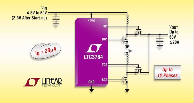Linear's 60V multiphase synchronous boost controller delivers at up to 97% efficiency