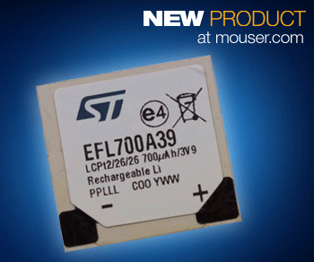 STMicro's long-life paper-thin EFL700A39 EnFilm rechargeable batteries now at Mouser