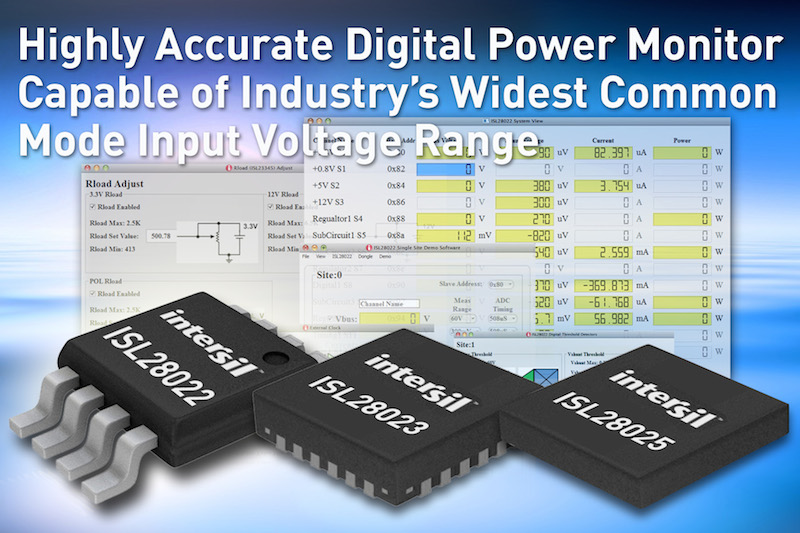 Intersil's latest digital power monitor claims widest common-mode input voltage range