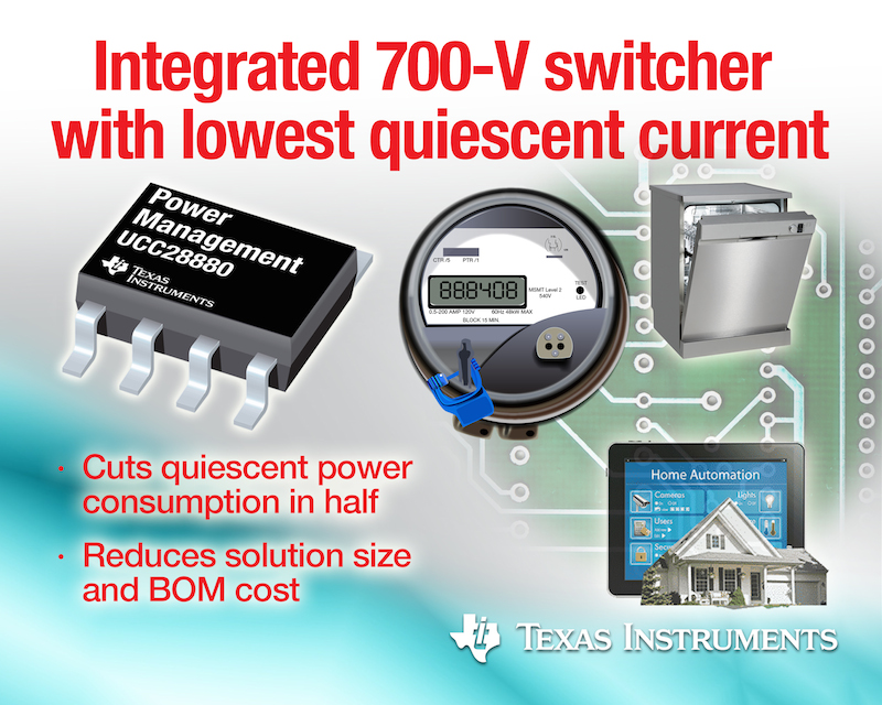 TI's high-voltage switcher offers energy savings to smart meters and home automation designs