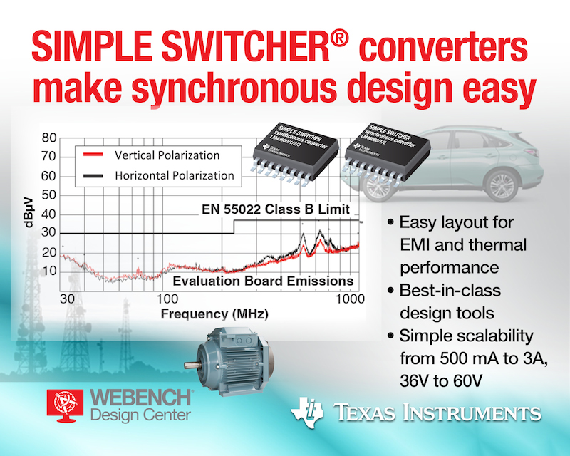 TI simplifies wide VIN power supply design with synchronous SIMPLE SWITCHER DC/DC regulators