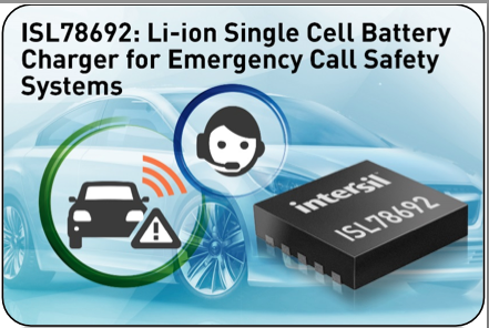 Intersil's highly-integrated Li-ion charger safeguards battery in automotive eCall systems