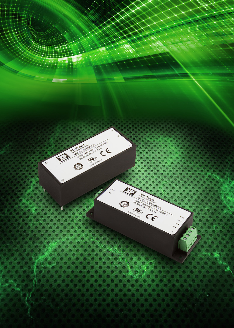 Industry's smallest encapsulated 60W AC-DC supply comes in PCB or chassis mount
