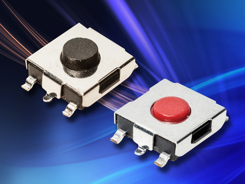 C&K Components' miniature SMT tactile switches suit metering, white goods, and home and garden equipment applications