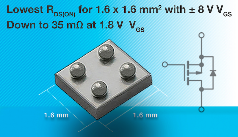 Vishay's latest 12V chipscale MOSFET cuts power use in ultraportable apps