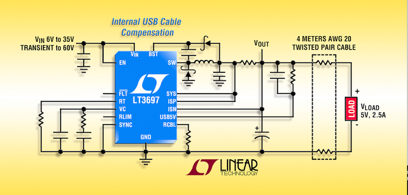 Linear's 5V, 2.5A USB, 35V-input buck regulator offers cable drop compensation
