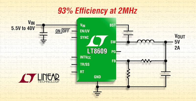 Linear's latest 2A synchronous step-down converter boasts 93% efficiency at 2MHz from 3.0V to 42V input