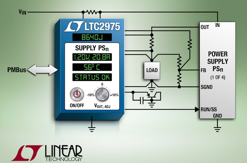 Linear's PMBus digital power system manager monitors board-level energy consumption