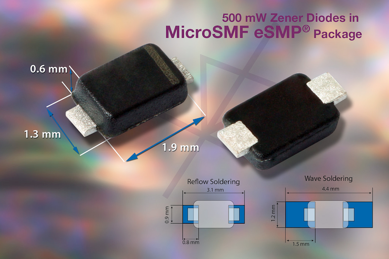 Vishay's 500 mW zener diodes save space using novel low-profile MicroSMF eSMP package