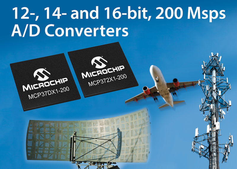Microchip released high-speed A/D converters that claim lowest-power 16-bit 200 Msps stand-alone ADCs