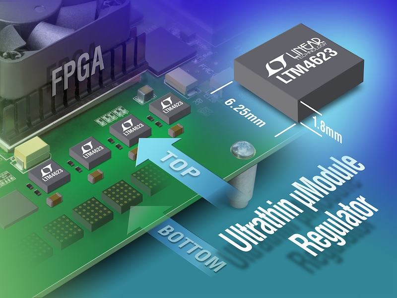 Linear's LTM4623 3A ÂμModule step-down regulator comes in a 1.8mm-high LGA package