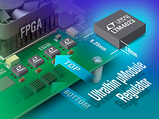 Linear's ultrathin 1.8mm, 3A ÂμModule regulator offered in a 6.25mm x 6.25mm LGA package