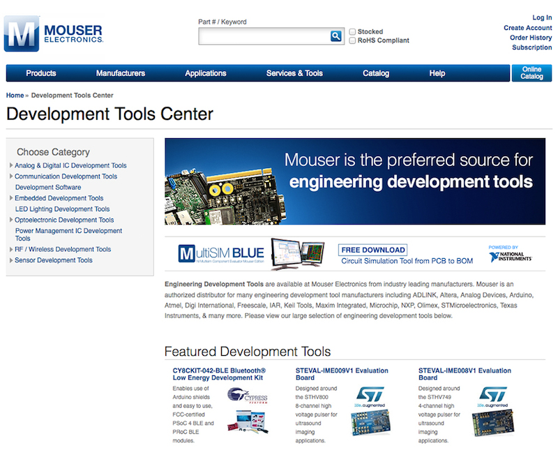 Mouser empowers �Next Great Thing' with development tools center