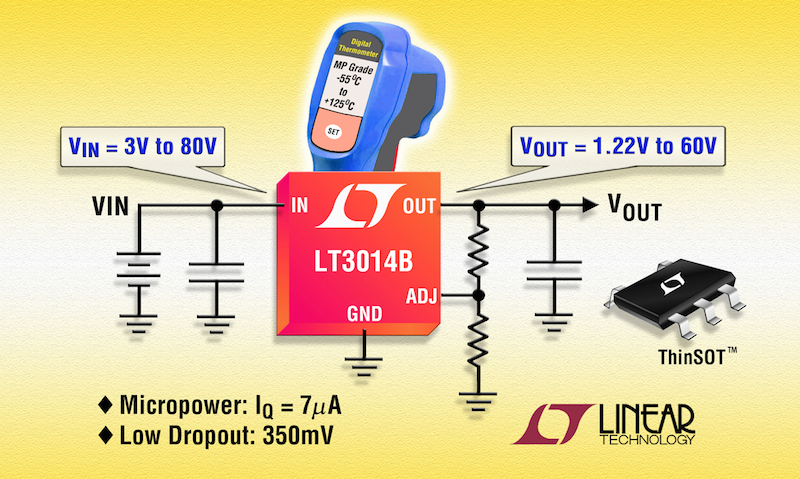 Linear's micropower 80V-input LDO in SOT-23 package now in Military -55° to +125°C MP Grade