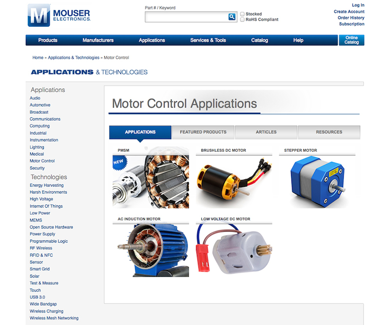 Mouser launches motor control app site