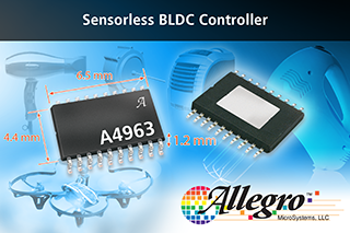 Allegro MicroSystems releases sensorless BLDC controller