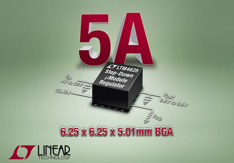 Linear's latest step-down ÂμModule regulator's entire solution fits within 0.5cm²