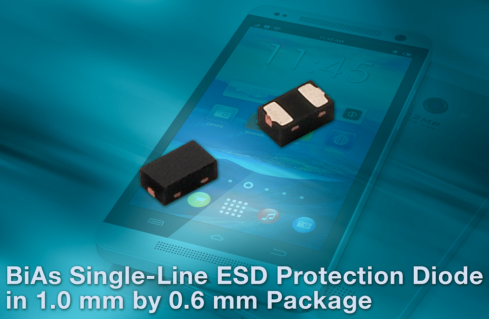 Vishay's BiAs single-line ESD protection diode saves board space