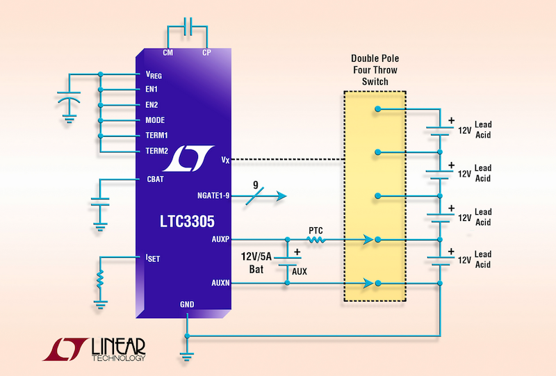 Stand-Alone lead-acid battery balancing IC handles up to four 12V batteries in series
