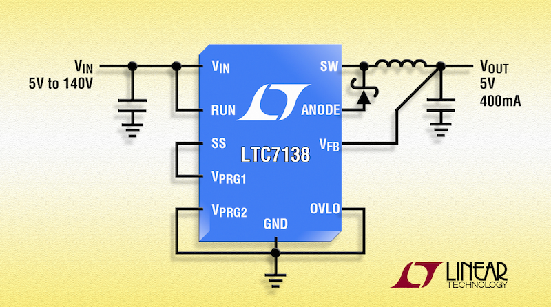 Linear's 140V, 400mA step-down converter achieves 12ÂμA quiescent current