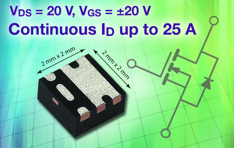 Vishay's PowerPAK SC-70 20V MOSFET increases power density and Reliability to Portable Electronics