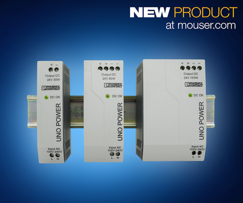 Phoenix Contact UNO POWER DIN-rail power supplies now at Mouser