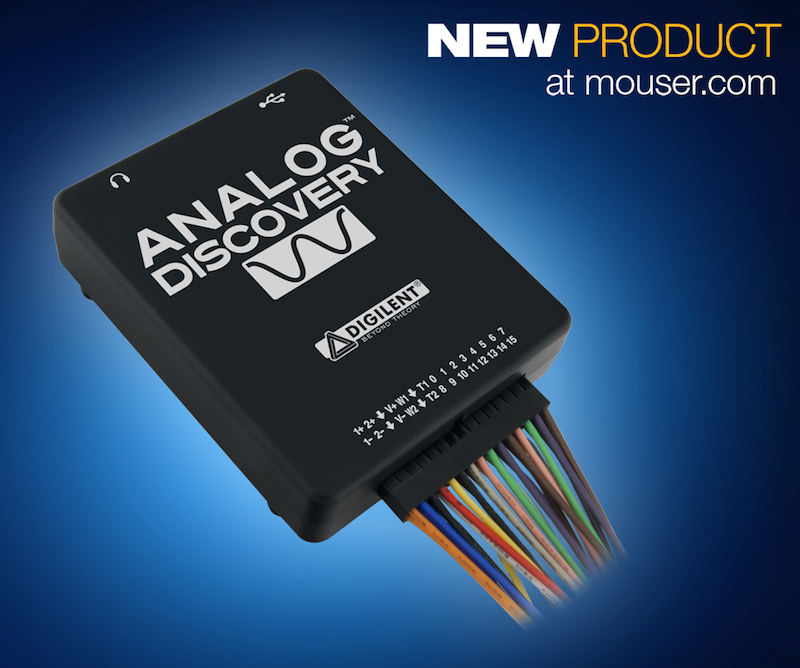 Digilent's Analog Discovery Oscilloscope now at Mouser