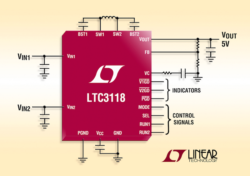 Linear's latest synchronous buck-boost DC/DC offers dual-input PowerPath control