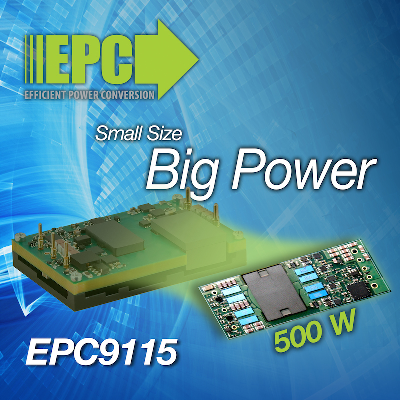 EPC's 500W eighth-brick DC/DC converter achieves 96.7% efficiency