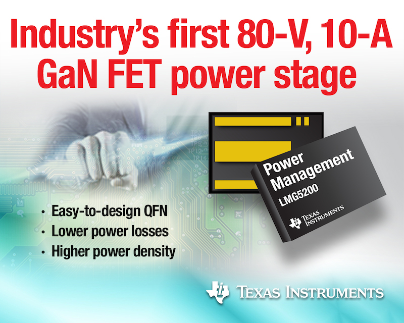 TI launches first 80-V half-bridge GaN FET module