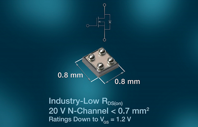Vishay's 20V chipscale MOSFET saves space and power in mobile apps