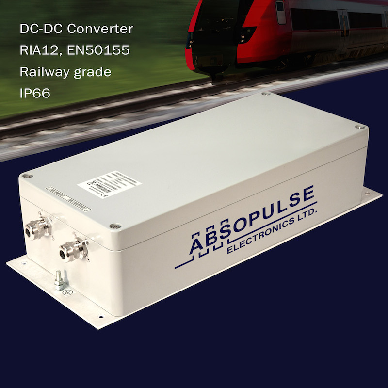 ABSOPULSE's railway converters offer 3.5Vn surge withstand capacity and IP66 protection