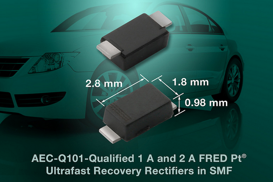 Vishay's AEC-Q101-qualified FRED Pt ultrafast-recovery rectifiers suit automotive and telecom apps