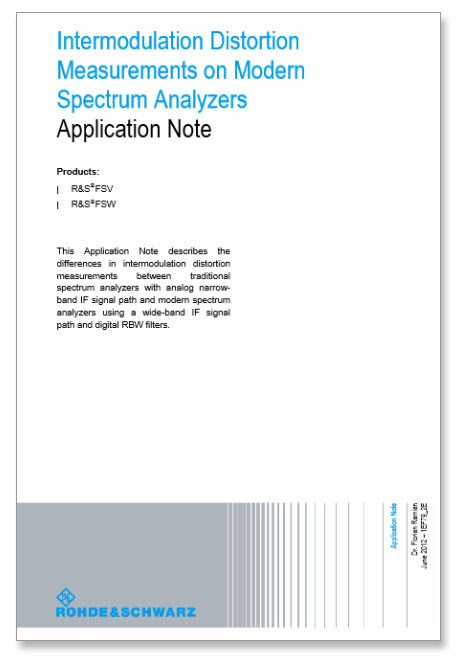 Rohde & Schwarz offers app note on intermodulation distortion measurements on spectrum analyzers