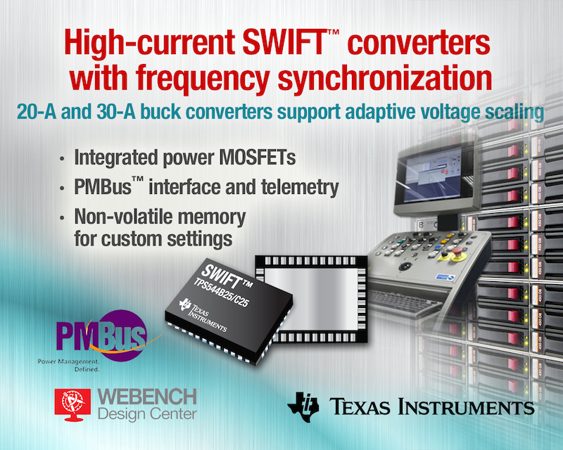 TI's SWIFT DC/DC buck converters support adaptive voltage scaling for improved efficiency