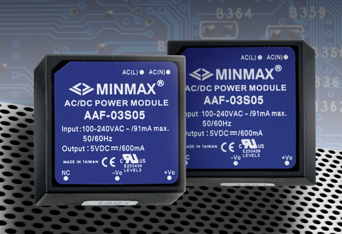 MINMAX's latest 3W PCB-mount AC/DC supply comes in a 1 x 1 x 0.64-in. package