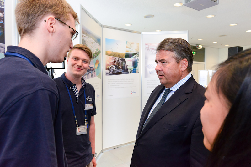 German Federal Minister for Economic Affairs and Energy Sigmar Gabriel visits Infineon's state-of-the-art chip plant in Dresden