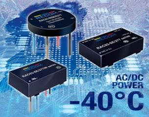 RECOM's latest low-power AC/DC power supplies handle extended operating temps