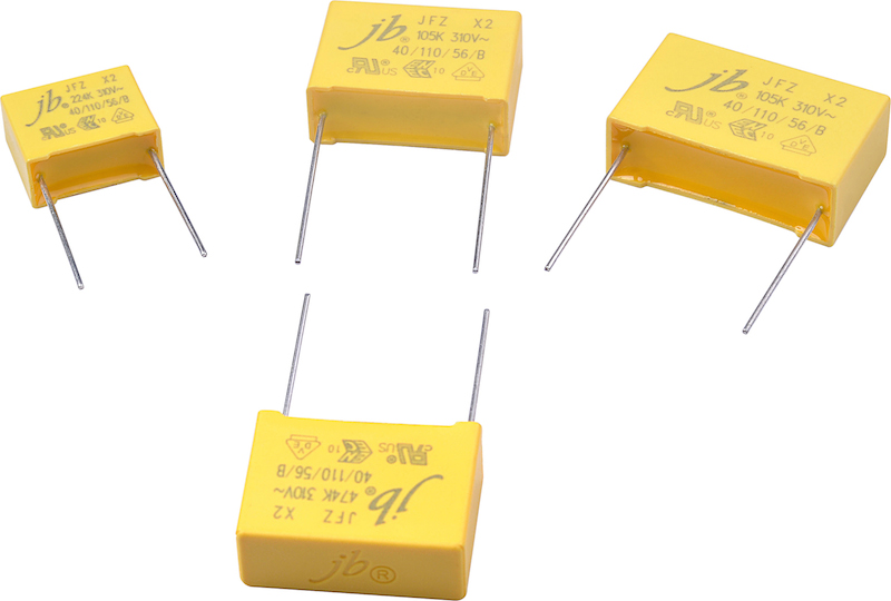 JFZ series X2 EMI suppression film caps rated to 310Vac