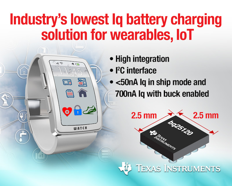 TI claims smallest and lowest-power battery management solution for wearables & IoT