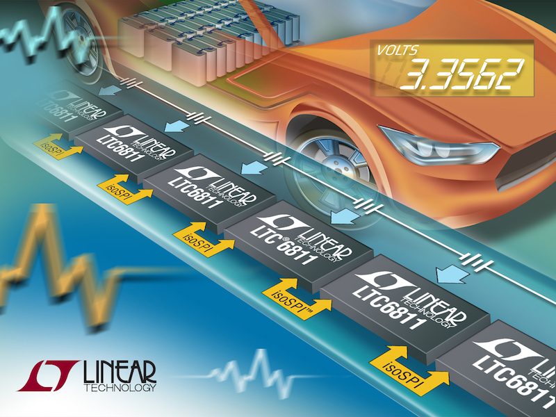 Linear's low-cost HV automotive battery-stack monitor delivers high accuracy & improved safety