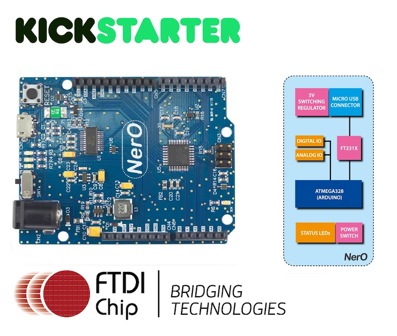FTDI Kickstarter Project NerO provides Arduino UNO R3 compatibility & enhancements